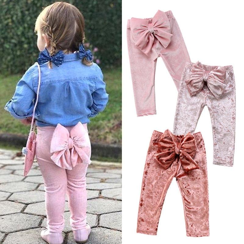 Cute Kids Baby Girl Bowknot Pants 2018 New Arrival Velvet Trousers Newborn Baby Girls Pleuche Long Pants Leggings Girls Trousers
