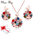 Magic Ikery Vintage Butterfly Weddings African Costume Bead Jewelry Sets Gold Plated Rhinestone Crystal Jewelry for women