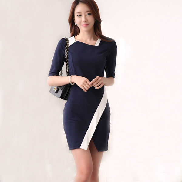 Formal Office Dress Patchwork Blue Short Dresses Women Work Las Wear Robe Femme Clothing Wi032