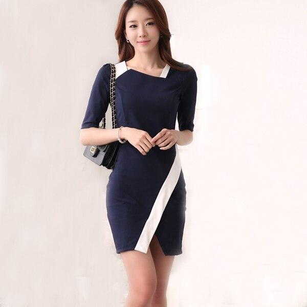 Formal Office Dress Patchwork Blue Short Women Work Las Wear Robe Femme Clothing Wi032