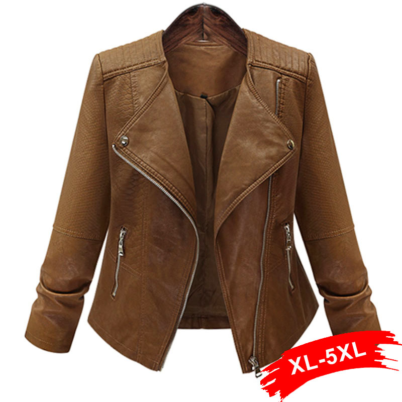 Plus Size Coffee Pu   Leather   Jacket Coat Short Motorcycle Jacket Zipper Pocket 4XL 5XL Classic Basic Winter Jacket Women Outwear