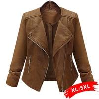Plus Size Coffee Pu Leather Jacket Coat Short Motorcycle Jacket Zipper Pocket 4XL 5XL Classic Basic Winter Jacket Women Outwear