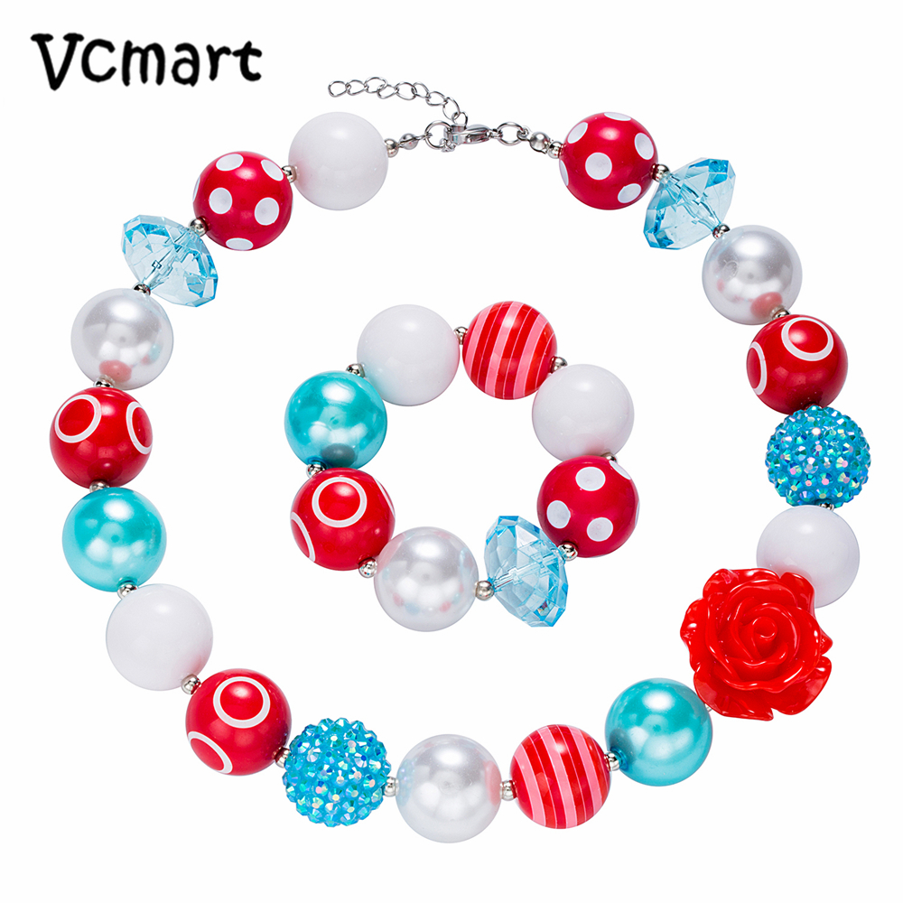 Vcmart 2018 New Flower Chunky Beads Necklace 2set Cute Chunky Bubblegum Necklace with Bracelet Jewlery Party Gift
