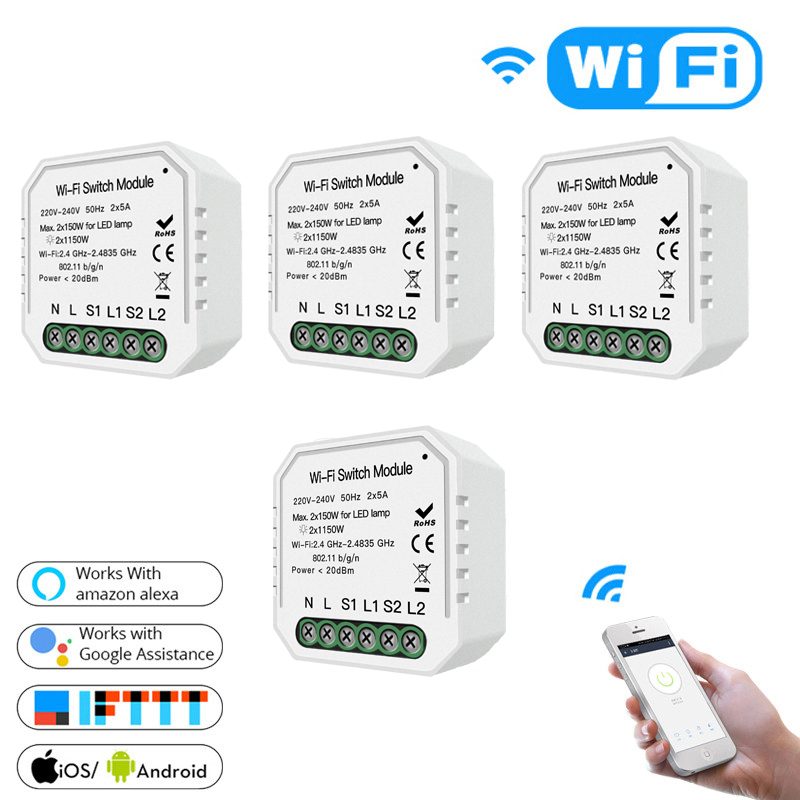 Commutateur de lumière intelligent Wifi Module de disjoncteur bricolage vie intelligente/Tuya APP télécommande, fonctionnant avec Alexa Echo Google Home 2 voies 2 voies.