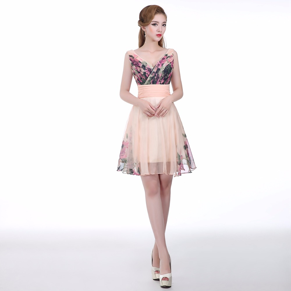 Aliexpress buy 2016 hot floral print knee length short aliexpress buy 2016 hot floral print knee length short bridesmaids dress pink sexy v neck chiffon wedding party dress gown for bridesmaid from ombrellifo Image collections