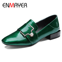 ENMAYER Metal Decoration Shoes Woman Round Toe Derby Flats Dress Big Size 34-42 Black Green Wine Red Shallow
