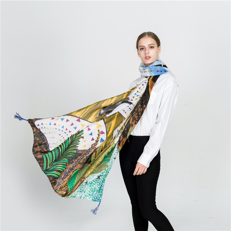 Womens Autumn Totem Long Neck Scarf Large Voile Wrap Shawl Stole Soft Scarves b