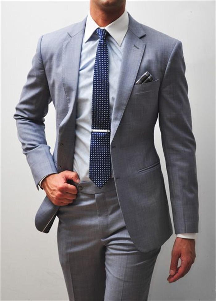 Costume formel gris hommes Double boutonnage Slim Fit 2019 nouveau Design sur mesure 2 pièces costume de mariage hommes marié smoking costumes de bal