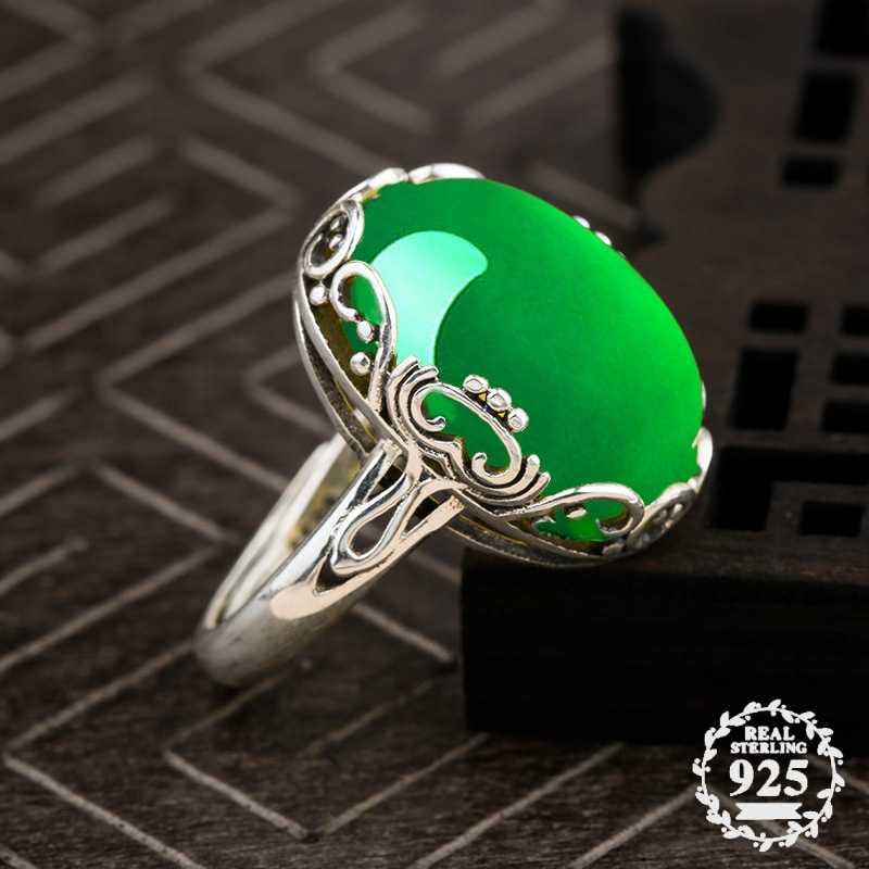 13*18 มม.ไม่ใช่ปลอม S925 เงินสเตอร์ลิงออสเตรเลียแหวนมรกตหยก moldevite Chinatown oriental Retro Chalcedony