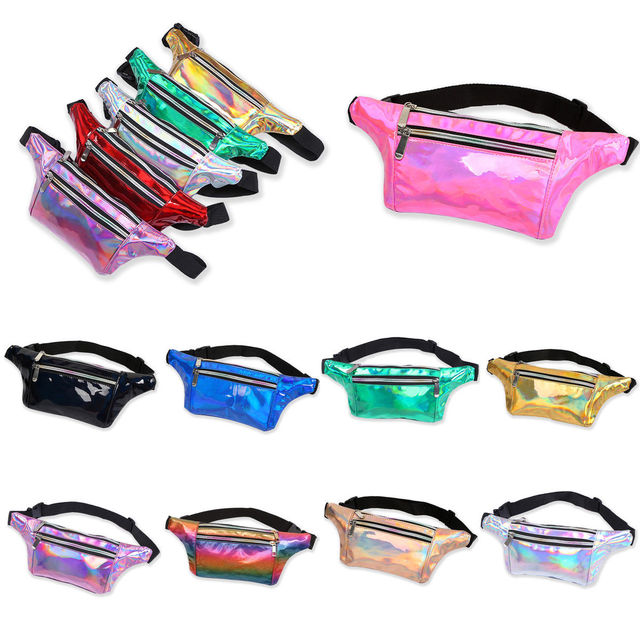 2018 Brand New Unisex Bum Bag Fanny Pack Travel Waist Money Belt Zip Pouch Wallet Laser Color Waist Bag