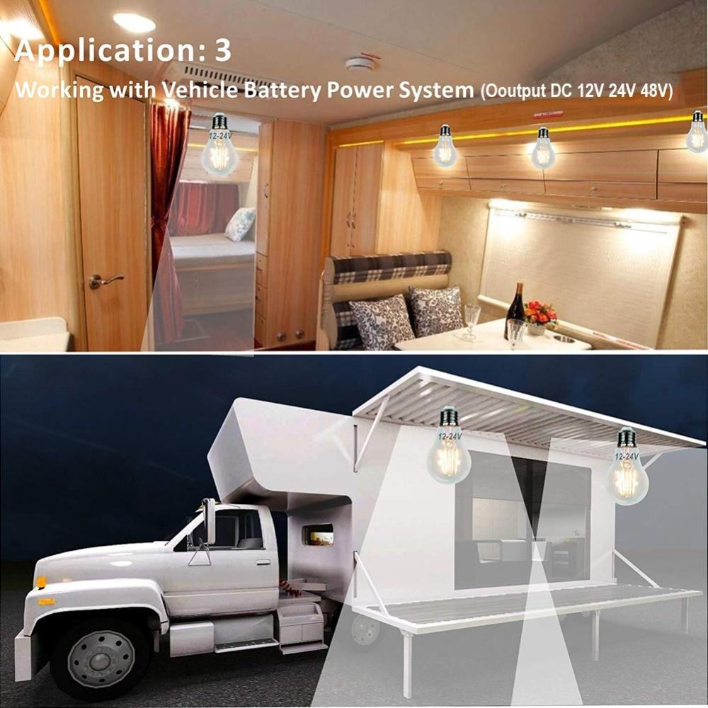 Image 5 - Ganriland 12 v 24 v lâmpada led a19 filamento lâmpada baixa  tensão 6 w edison globo lâmpadas 4500 k luz do dia branco quente 2700 k  e26 e27Lâmpadas LED e tubos