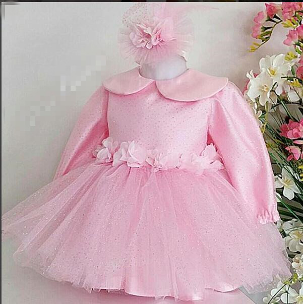 Pink long sleeves ball gown dress kids baby girl princess toddler kids girl dress pink lace up design cold shoulder long sleeves hoodie dress