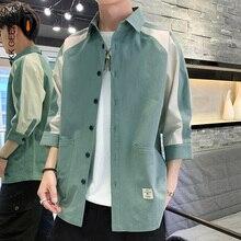 Erkek gömlek üç çeyrek kollu Patchwork % 100% pamuk yaz gevşek rahat sokak gömlek smokin resmi moda elbise gömlek