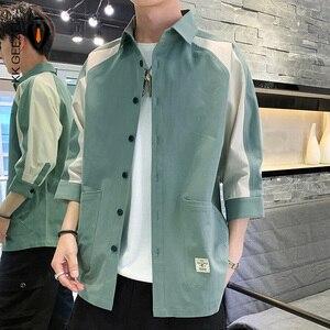 Image 1 - Koszula męska rękaw 3/4 Patchwork 100% bawełna lato luźne Casual Street koszule Tuxedo formalna moda sukienka koszula