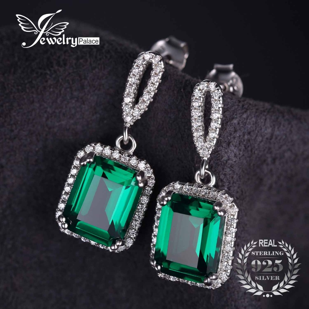 Party Jewelry Luxury 8ct Created Emerald Drop font b Earrings b font Dangle Genuine Real Solid