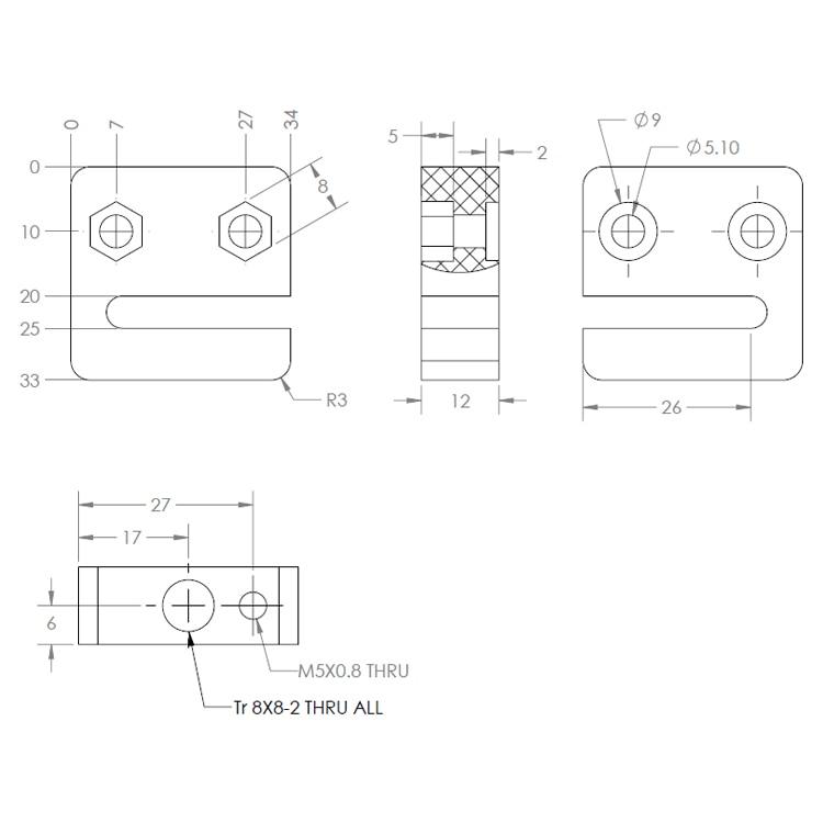 Аксессуары для 3d принтера T openbuilds тип анти-люфт Гайка Блок T8 винт 8 мм 1 комплект