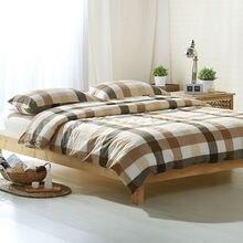Simple luz marrón bronceado rayas blanco mantas sábanas duvet cover set 100% algodón lavado Queen/Completo/Doble/rey Tamaño sábana conjunto