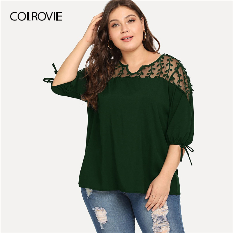 COLROVIE Plus Size Green V-Neck Contrast Mesh Knot Cuff Elegant   Blouse     Shirt   Women 2019 Summer Half Sleeve Tee Office Lady Top