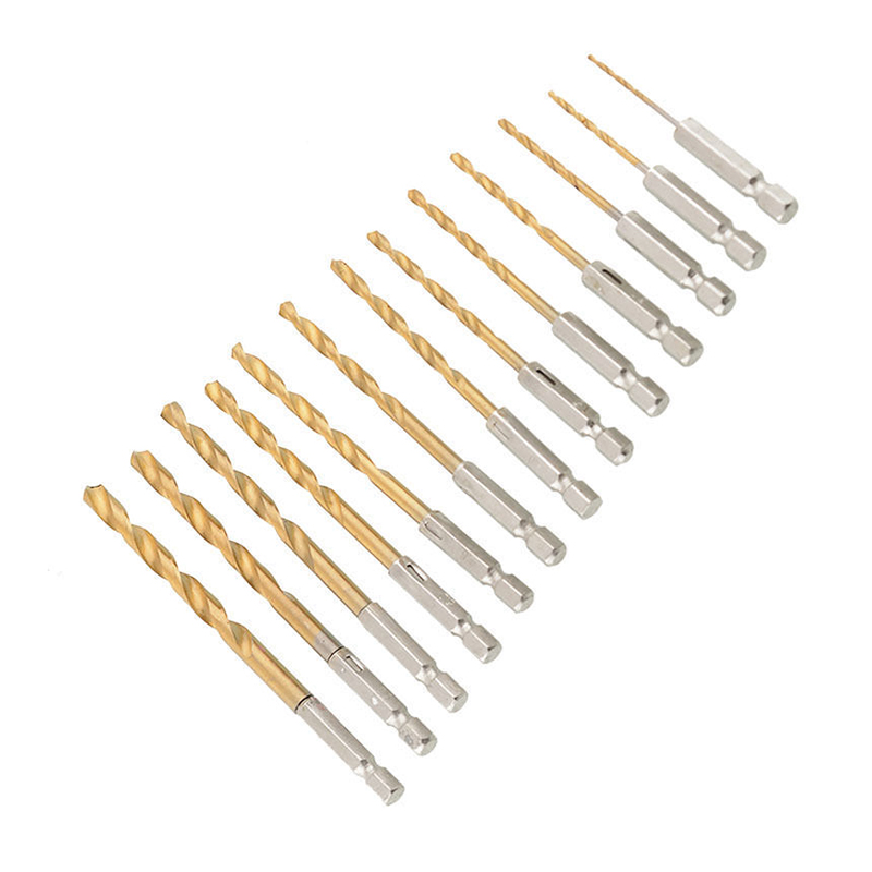 13pcs HSS Titanium Drill Bit Twist Drill Bits Wood Metal Drilling for Woodworking Power Tools 99pcs mayitr hss drill bits set titanium coated woodworking drilling tools 1 5mm 10mm
