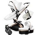 AULON Carrinho De Bebê 3 Em 1 Luxo Alta Paisagem Viagem sistema de 360 Rotação Do Pram Do Bebê Carrinho de Bebé com Berço e Carro assento