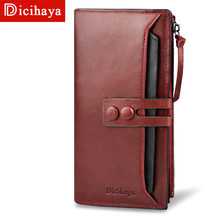 DICIHAYA 2018 Top Quality 100% Genuine Leather Long Women Wallet Fashion Clasp Purse Money Coin Card Holders Wallets Phone Bag(China)