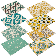1 Pcs Table Mat Geometric Printed Yellow Blue Red Mandala Styles Placemat Linen Tablewear Pad Home Dinning Table Decor