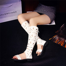 ZJVI woman fashion summer thigh high boots women cut outs knee high boots womens low heels shoes 2018 ladies open toe sandals
