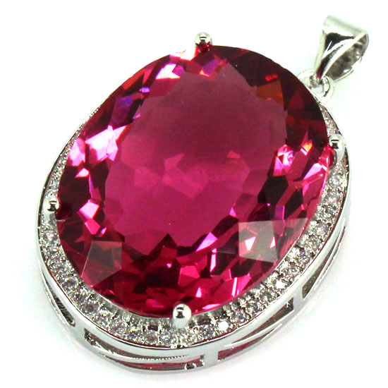 Big Gems 22x18mm Created Pink Tourmaline, White CZ SheCrown Ladies Engagement Silver Pendant 25x20mm