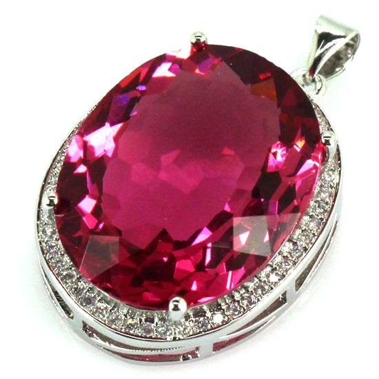 Big Gems 22x18mm Created Pink Tourmaline, White CZ SheCrown Ladies Engagement Silver Pendant 25x20mm