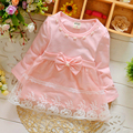 Spring Long Sleeve Lace Bow Baby Party Birthday girls kids 1-3T Children Cotton dresses princess infant Dress wholesale retail