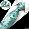 GUSLESON Men Tie Floral 100% Silk Jacquard Woven Necktie Gravata Corbatas Hanky Cufflinks Tie Set for Men Formal Wedding Party