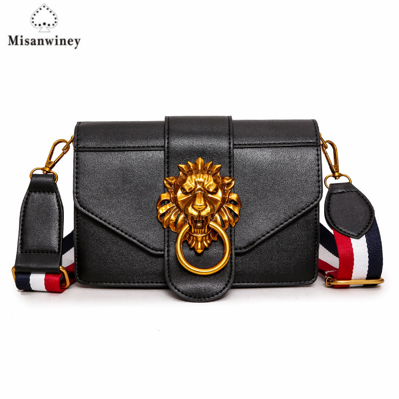 New Metal Lion Head Designer Women Messenger Bags High Quality Pu Leather Small Shoulder Crossbody Bag Woman Casual Bag designer bags famous brand high quality women bags 2016 new women leather envelope shoulder crossbody messenger bag clutch bags