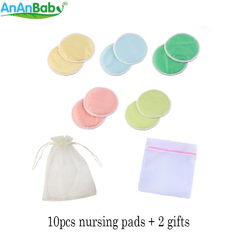 New Arrival ! Ananbaby 10PCS Bamboo Breast Pads With A Washing Bag And A Gift Bag Reusable Waterproof Nursing Pads