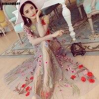 Women S Beach Dress Flower Embroidery Perspective Gauze Boho Dresses Female Sexy Long Maxi Dresses Free