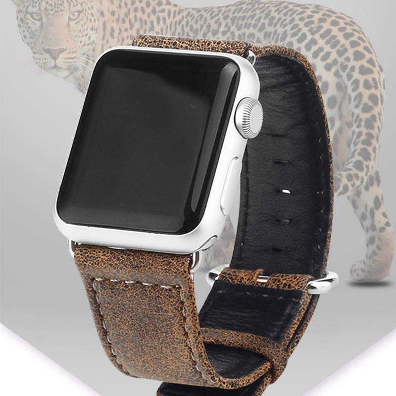 Watchband Leopard Pattern Genuine Leather Band  for Apple Watch Bands 38mm 42mm for Iwatch Strap 42 mm 38 mm 2 1 Series Bracelet 6 colors luxury genuine leather watchband for apple watch sport iwatch 38mm 42mm watch wrist strap bracelect replacement