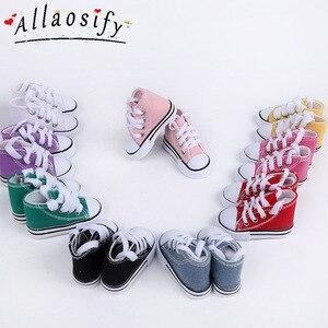 Allaosify 7.5cm i 5cm buty dla lalek Denim trampki dla lalki BJD moda Denim płótno buty zabawkowe dla handmade Doll
