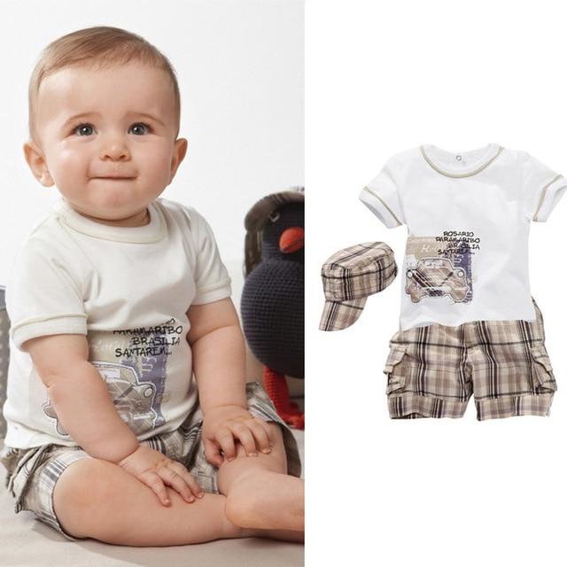 0b6b7460c25 2017 Summer Style Baby Boy Clothes Cartoon T-shirt +Plaid Shorts+Hat Clothes  Set 3pcs Newborn Clothes Suit Infants Clothing Set