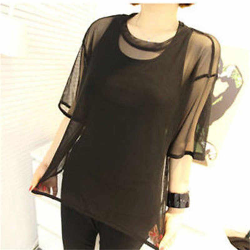 Mujer caliente Tops y blusas playa ver a través de malla de manga corta Camisa de chifón confortable Oversize cuello Tops blusa