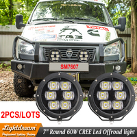 7 inch round 60W Led headlight 12v Car Lights accessories 4x4 offroad Driving Working lamps Led Spotlights Night lights x2pcs