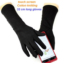 Long gloves womens stretch cotton touch screen knit plus velvet thick arm sleeves to keep warm in autumn