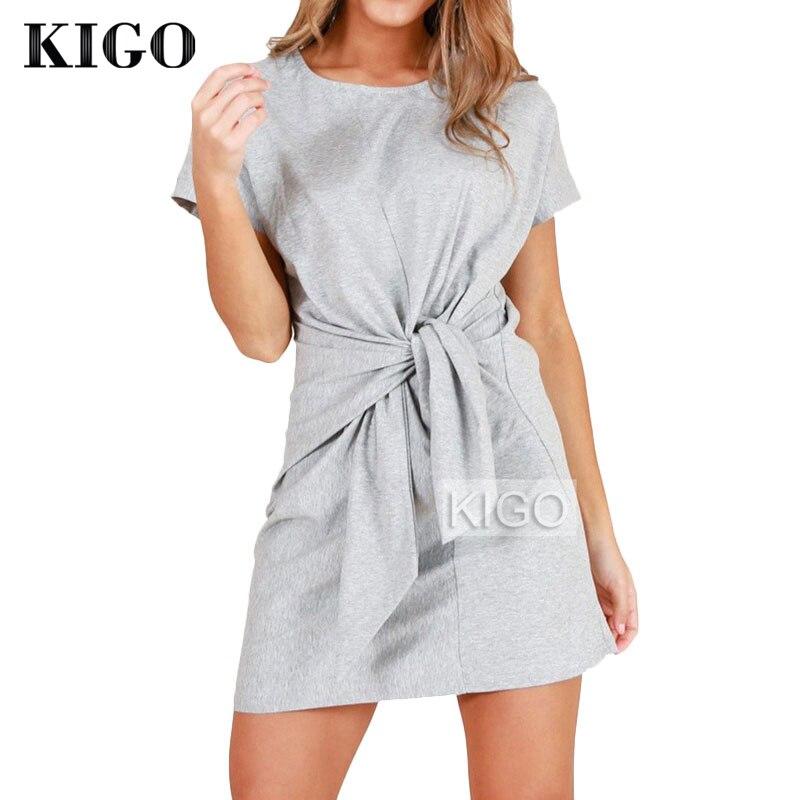 ed32c4a88d4 Для женщин летнее платье 2018 Изделие из хлопка с короткими рукавами  футболка платье с круглым вырезом