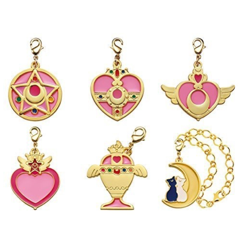 Sailor Moon Stained Charm Lobster Clasp Gashapon Set of 6 Japan Anime Pretty Guardian 100% Original sailor moon stained crystal light gashapon set of 4 japan anime mascot 100% original
