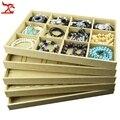 Free Shipping  35*24*3cm Jewelry Storage Case Linen Pendant Necklace Ring Organizer Tray  Bracelet Tray