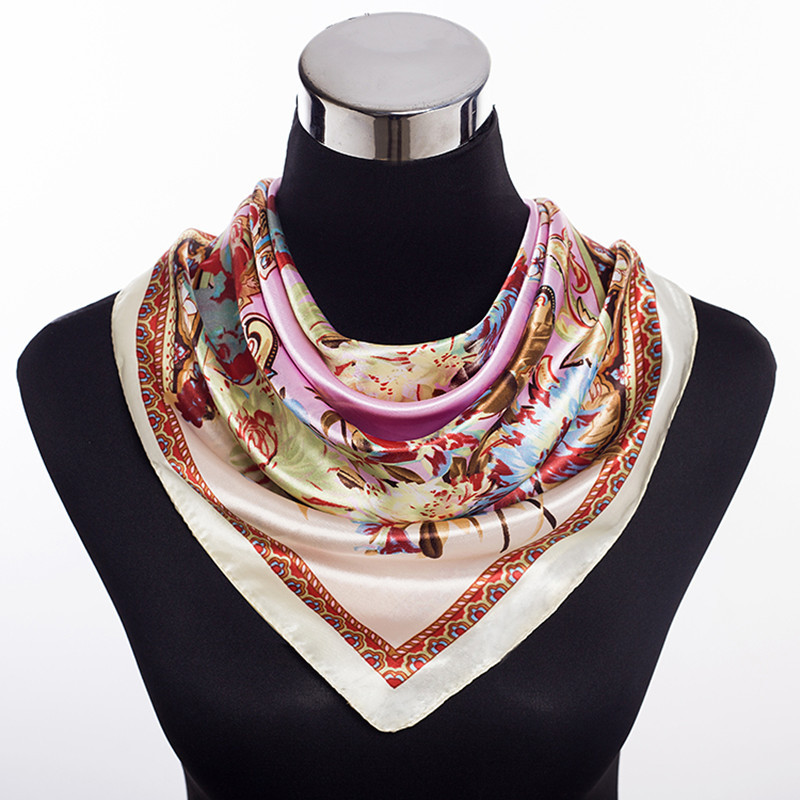 Square Silk Scarf For Women Luxury Designer Brand Ladies ...