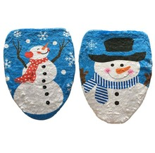 1 Pcs Blue Happy White Snowman Bathroom Toilet Seat Cover Toilet Lid for New Year Xmas Christmas Decoration