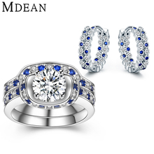 Mdean Round Blue&White CZ Diamond Sapphire Genuine 925 Sterling Silver Jewelry Sets for Women Hoop Earrings/Rings Gift MSJ004