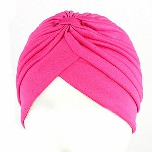Image 3 - 20Pcs 24 Colors Muslim Turban Caps Women Elastic Stretchy Beanies Hats Bandanas Big Satin Bonnet Indian
