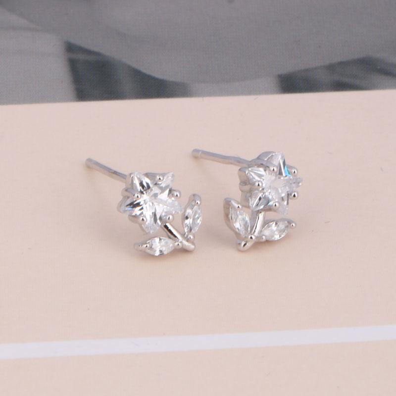 CHUKUI Genuine Silver 925 Jewelry Women Real Pure 925 Sterling Silver Star Flower Earrings Crystal Zircon Stud Earing 925 (1)