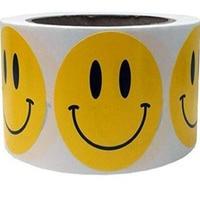 Geel Smiley Gelukkig Stickers 2