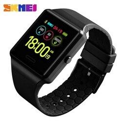 Bluetooth Smart watch dla mężczyzn luksusowe elektroniczny inteligentny zespół ciśnienie krwi inteligentny zegarek do monitorowania Top marka zegarki SKMEI zegar telefonu w Zegarki cyfrowe od Zegarki na